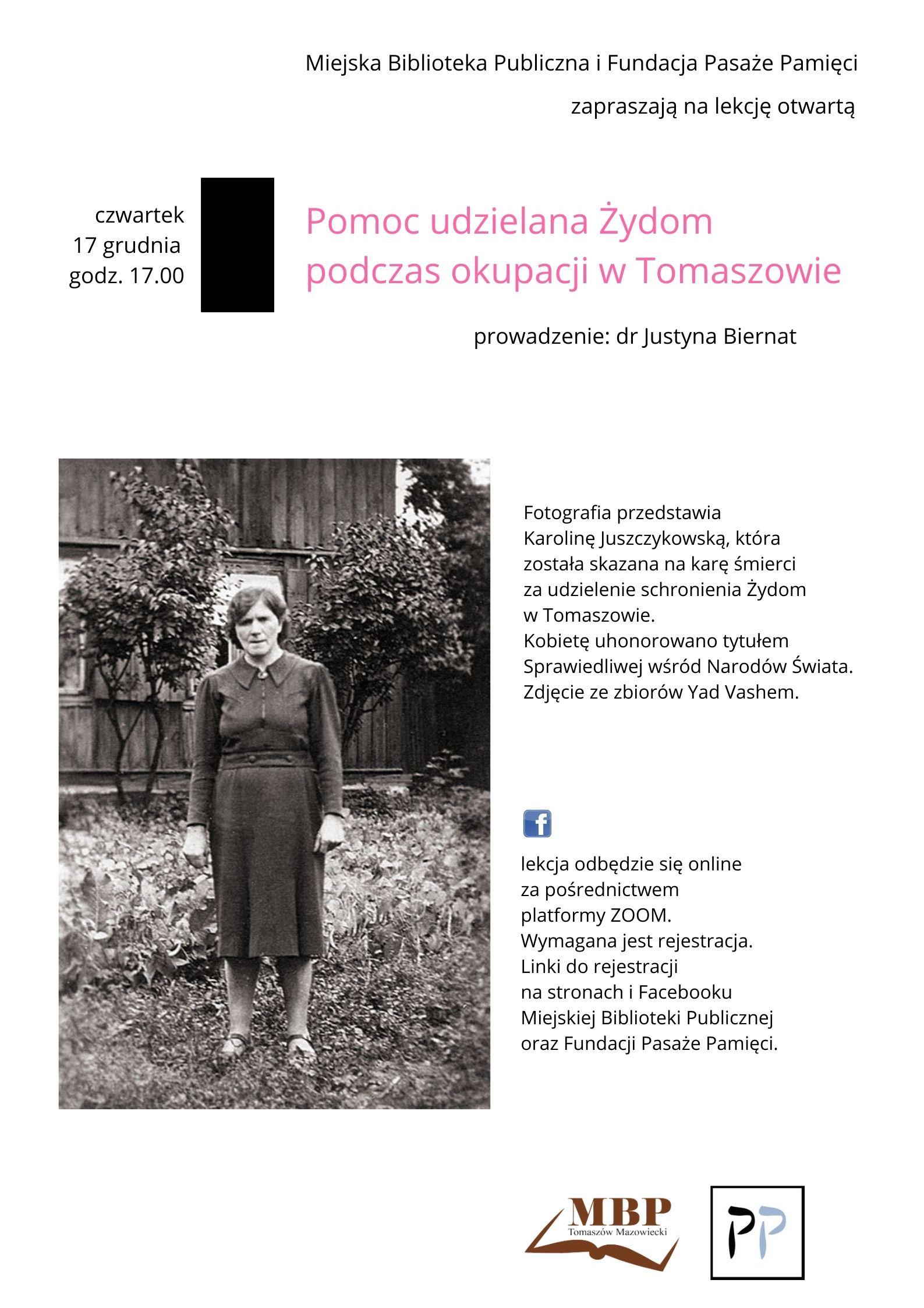 Na plakacie umieszczono czarno-białe zdjęcie kobiety. Wokół zdjęcia umieszczono informacje związane ze spotkaniem on-line